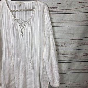 Joie Tops - Joie cotton peasant top tassel tie split neck